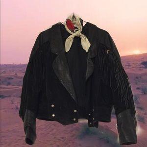 Jackets & Blazers - VINTAGE BLACK SUEDE AND LEATHER FRINGE MOTO JACKET